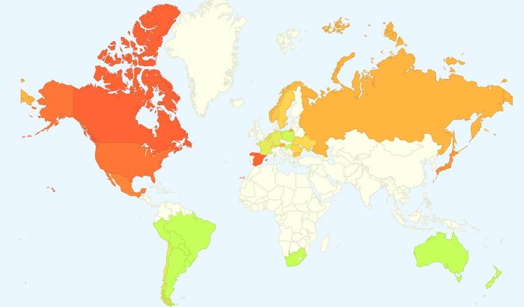 Распространение гриппа карта